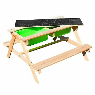 Kids Picnic Table Sand & Water Pit With Lid Play Wooden Bench Outdoor Furniture • 79.95£