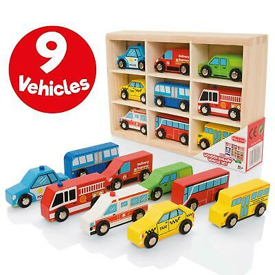 Milly & Ted Wooden Vehicle Set - Childrens Push-Along Or Railway Track Cars • 12.99£