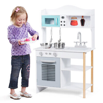 Wooden Kids Play Kitchen Children's Role Play Cooking Set Toy Boys & Girls Gift • 49.99£