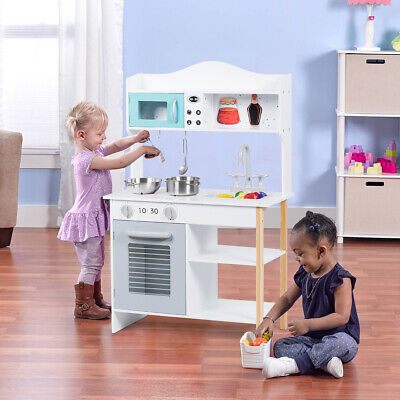 Wooden Kids Play Kitchen Cooking Pretend Play Toy Set Children's Role Play Gift • 49.99£