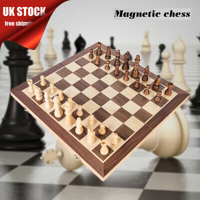 30/40cm Large Chess Wooden Set Folding Chessboard Magnetic Pieces Wood Board UK • 15.58£