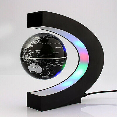 C Shape Magnetic Levitation Floating Earth Globe World Map With Base LED Light • 18.95£