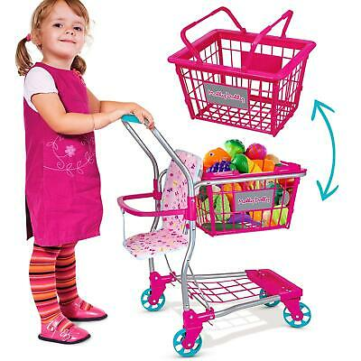 Molly Dolly Kids 2 In 1 Supermarket Shopping Trolley & Removable Basket Toy • 21.99£