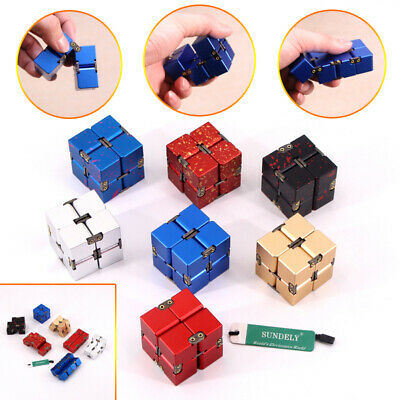 Infinity Cube Mini Fidget Toy Finger Anxiety Stress Relief Magic Blocks Aluminum • 14.95£