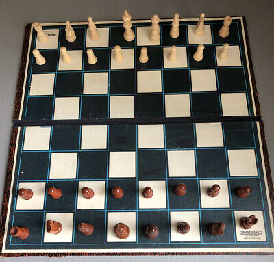 Large Vintage Wooden Chess Set & Old Board. King 68mm. Board 405 X 405mm. • 6.99£
