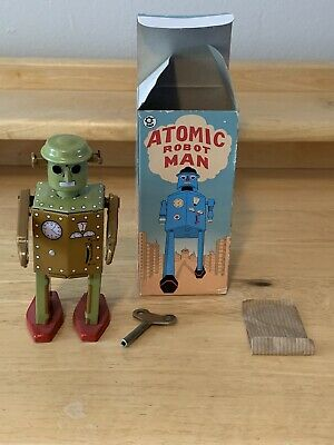 Vintage Antique Tin Wind Up Atomic Robot Man Collectors With Box • 9.99£