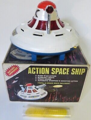 ACTION SPACESHIP - VINTAGE  HONG KONG FLYING SAUCER – Not Fully Working • 24.95£