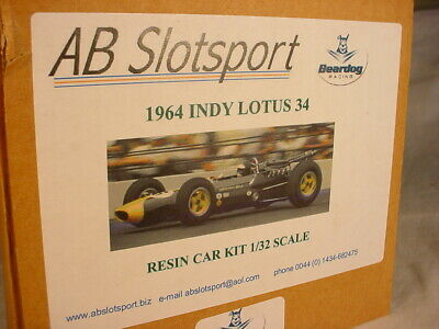 AB Slot Beardog Lotus 34 Indianapolis 1964 #6 Jim Clark Resin 1/32 Scale Kit MB • 25£