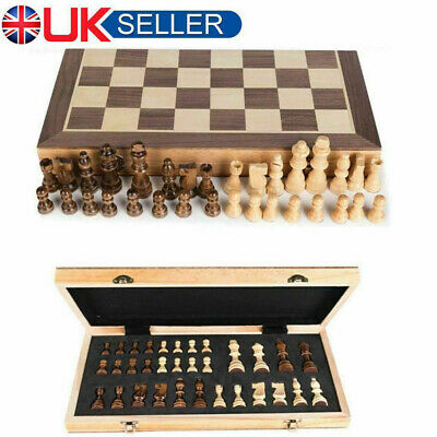 Folding Large Wooden Chess Set Magnetic Chessboard Hand Crafted Chess Game Board • 16.79£