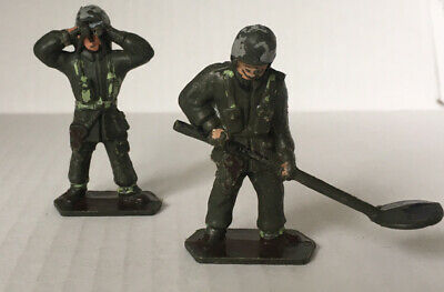 """2 Vintage 1960s Plastic Lone Star Toy Soldiers 1/32 Or 2"""" Minesweeper & Lookout • 2.99£"""