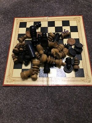 Vintage Wooden Chess Set And Folding Board. • 13.50£