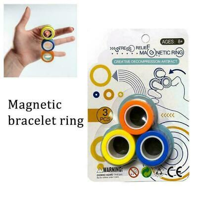 Anti-Stress Magnetic Rings Finger Trick Props Toys Anxiety Relief Decompression • 6.99£