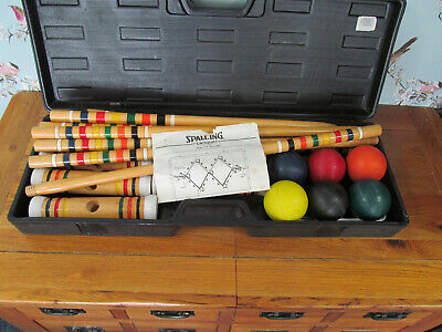 Spalding Croquet Vintage Wooden Set In Case • 77£