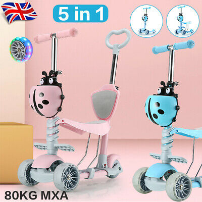 Kids Toddler Child Kick Push Scooter 5 In 1 With Flashing Wheel T-Bar Tilt Seat • 27.29£