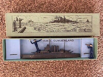 Rare Vintage Crescent Toys No 664 HMS 'Cumberland' (pre-war Issue)  - Boxed • 90£