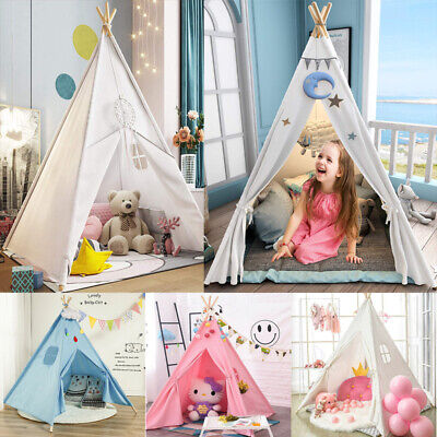 Cotton Canvas Kids Teepee Boy Girl Large Tent Indoor Garden Indian Wigwam Gifts • 19.94£