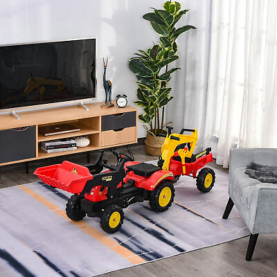 HOMCOM Pedal Powered Tractor Ride-On Car W/ Moving Bucket Steering Wheel 3-6 Yrs • 78.99£