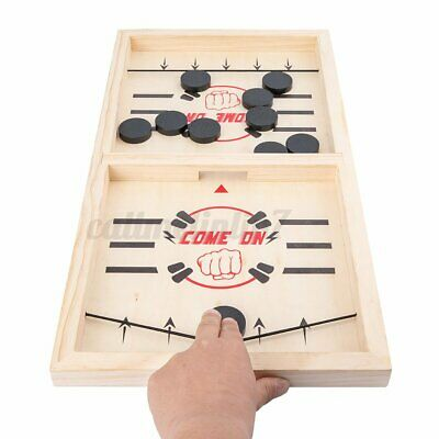 Wooden Fast Sling Puck Chess Game Paced Desktop Battle Board Family Game Set Toy • 9.79£
