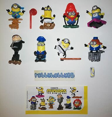 Minions 2 The Rise Of Gru Complete Set Of 8 With All Papers Kinder Surprise 2020 • 17£