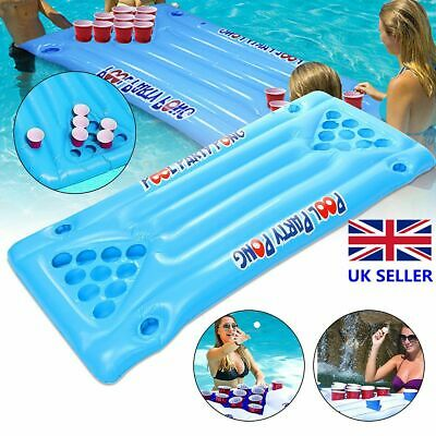 Inflatable Beer Pong Ball Table 24 Cups Holder Float Raft Pool Gam • 14.55£
