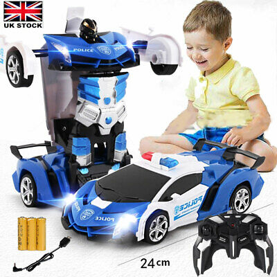 Transformer RC Robot Police Car Remote Control 2 IN 1 Kids Boys Toys Xmas Gift • 15.99£