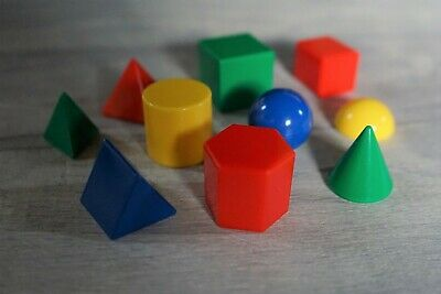 Colourful Geometric Solids Pack Of 10 Shapes Early Learning Play Early Maths • 6.99£