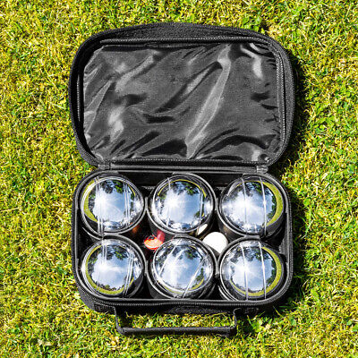 Harrier French Boules Set (Deluxe) | CHROME IRON Balls Garden Game + Carry Bag • 23.99£