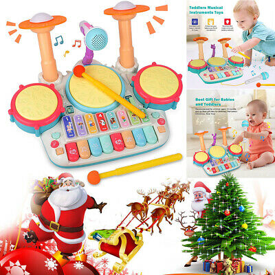 Kids Electronic Drum Kit Play Set Baby Musical Toy Instrument W/Microphone Gift • 14.94£