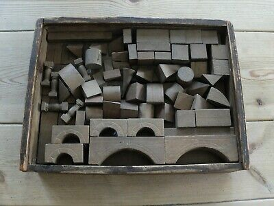 Architectural Vintage Wooden Building Blocks In A Box • 108£