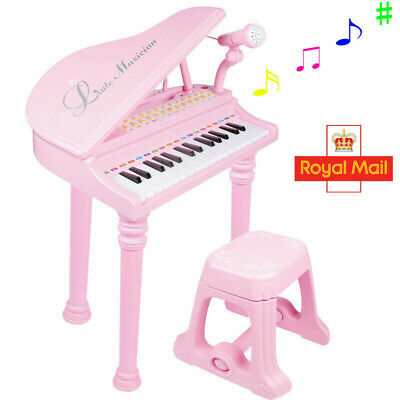 Kids Electronic Grand Piano Childrens Keyboard Toy 31 Keys Microphone With Stool • 21£