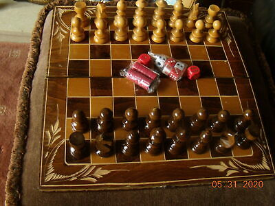 GOOD- WOODEN CHESS SET- --and BACKGAMMON BOXED--V'Good • 13.75£