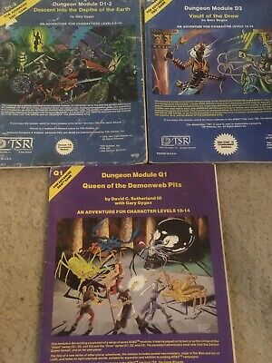 Advanced Dungeons And Dragons 1st Edition. Drow Trilogy Of Adventures D1 -3 + Q1 • 16£