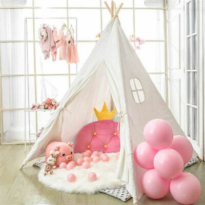 Indian Canvas Teepee Children Playhouse Kids Play Tent For Indoor Outdoor White • 7.50£