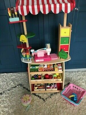 Wooden Play Stall / Shop + Wooden & Plastic Food, Baskets And Till • 35£