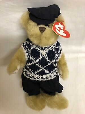 Mulligan The Golfer Bear Ty Attic Treasures Articulated Arms Legs New With Tags • 10.99£