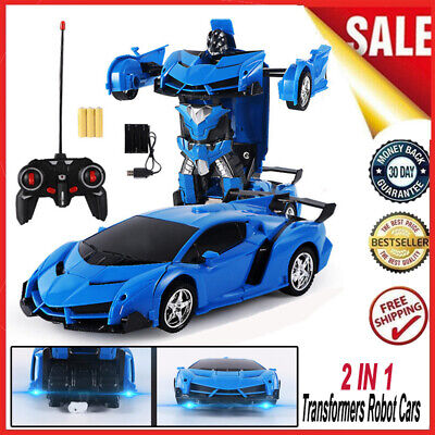 Toys For Kids Boys Remote Control Vehicle Transformer Robot Car Cars Xmas Gift • 12.99£
