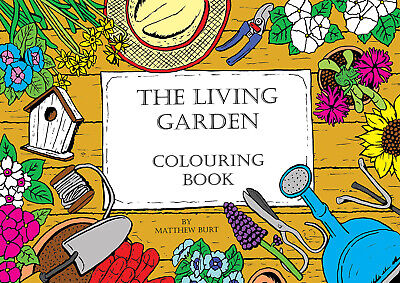Adult Colouring Books - The Living Garden A4 Flowers Mindful Colour Art Therapy • 4.99£