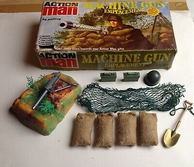 Vintage ORIGINAL ACTION MAN - MACHINE GUN EMPLACEMENT SET - Boxed, 1970s • 29.99£