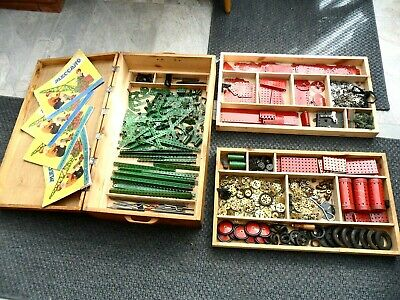 Large Lot Of Decent Condition Meccano In Custom Made Box • 75£