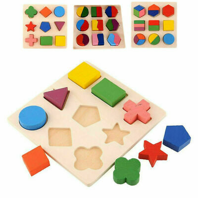 3D Baby Kids Wooden Puzzle Jigsaw Toys Shape Sorter Educational Learning Toy UK • 3.89£