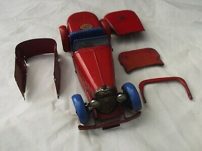 French Meccano Constructor Car No1 Red And Blue With Extra Parts • 380£