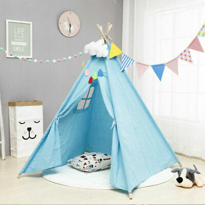 Large Canvas Kids Teepee Tent Childs Wigwam Indoor Outdoor Play House Gift Girl • 23.93£