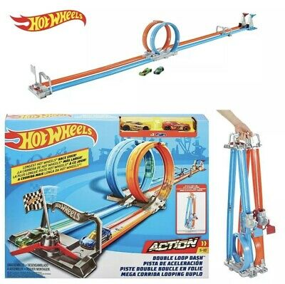 Hot Wheels Double Loop Dash *With 2 Cars* Side-By-Side Drag Race Track Set • 34.99£