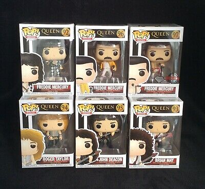 Queen Funko Pop Complete Set Of 6 - Includes Freddie Mercury Diamond Glitter • 169.99£