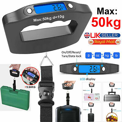 50 Kg Digital Luggage Weighting Scale Portable Weighing Suitcase Scale Strap UK • 4.39£