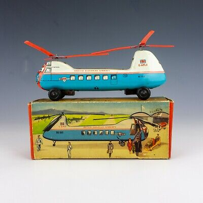 Vintage 1950's B & S Blomer & Schuler Tin Plate Helicopter - In Original Box • 34£