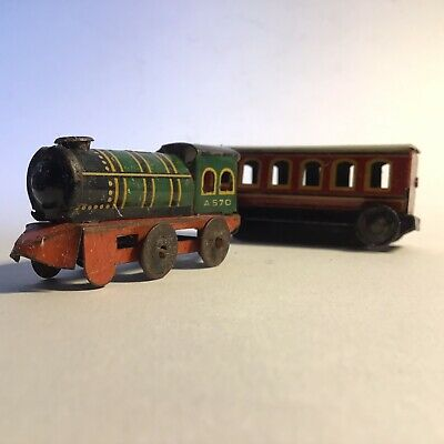 Vintage Tinplate Penny Toy Loco And Carriage 1930s • 8£