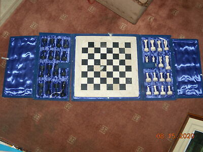 LARGE VINTAGE -MARBLE CHESS SET -KING 2.5 -- BOXED With BOARD • 35£