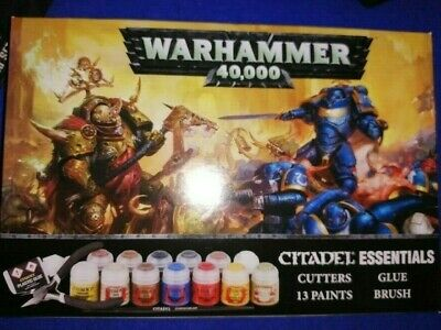 Warhammer 40k; Citadel Essentials; 13 Paints, Brush, Glue And Cutters • 8.50£
