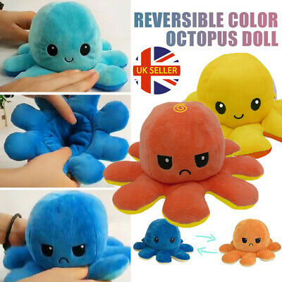 Double-Sided Flip Reversible Octopus Plush Toy Squid Stuffed Doll Toys Gift UK. • 4.99£